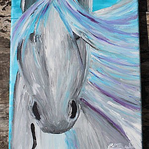 Blue Horse in the wind