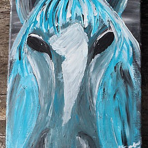 Blue Horse with black eyes
